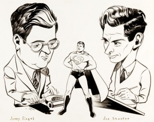 Jerry Siegel and Joe Shuster (art by Shuster)
